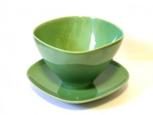 "Coffee Cup and Saucer (Green) x2 ""Lotus"" in a Gift Box – MinoYaki –"